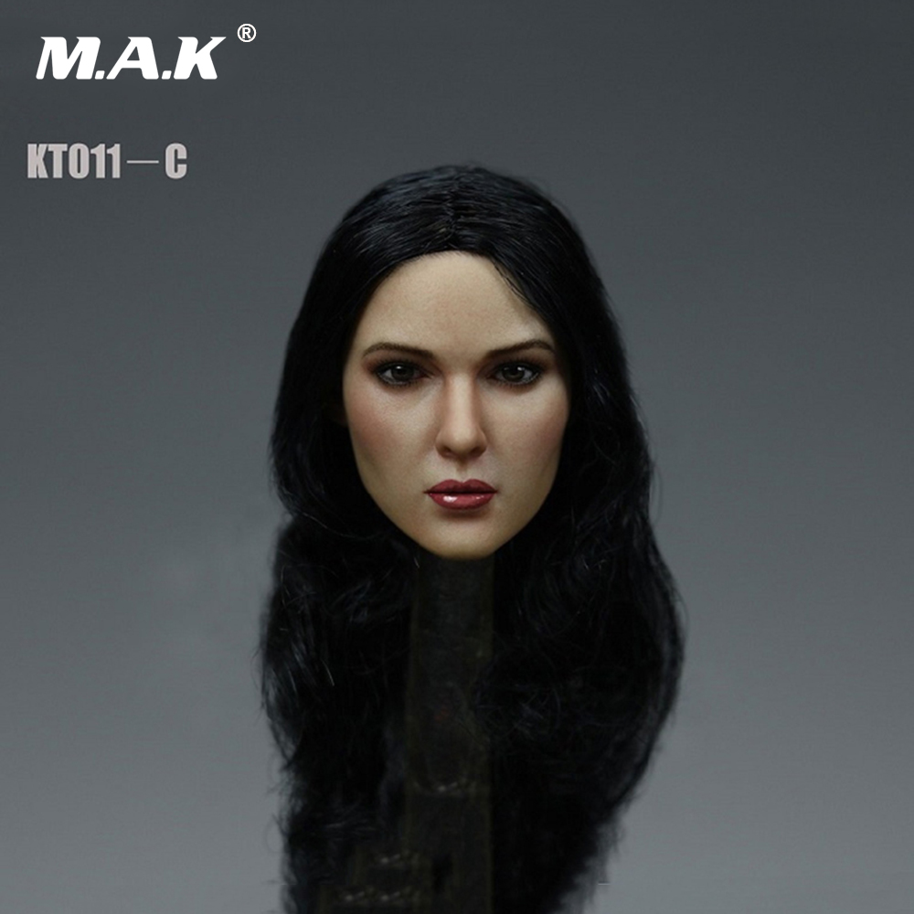1/6 European Female Head Carved Sculpt with Long curly hair Model KT011C For 12'' S07 Body Action Figures 1 6 blond long hair dana scully head sculpt for 12 bodies figures