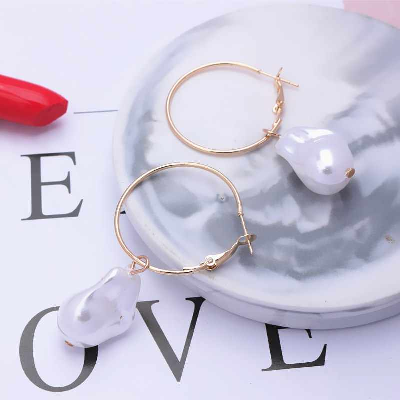 Irregular Round Freshwater Pearls Earrings for Women Baroque Gold Color Geometric Korea Fashion Jewelry Hanging Earrings Gift