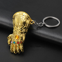 Marvel Avengers Infinity War Thanos Glove Gauntlet Keychain Gold Color 2