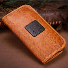 2016 Vintage Imported Cow Leather Wallets Embossing Bag Purses Women Men Long Clutch Vegetable Tanned Leather Wallet Card Holder