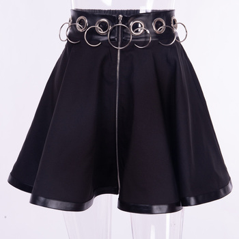 InstaHot Gothic Punk Zip Up Black Skirts Women Autumn Ring High Waist Pleated Winter Mini Skirt Female Bottom Sexy Christmas 5