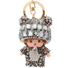 Monchichi Keychain Girl Monchhichi Sleutelhanger Crystal Fur Ball Keychain Cute Key Chain Pom Pom Women Key Holder Bague
