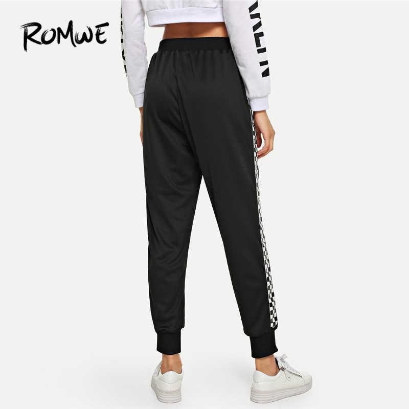Romwe спортивные черные, на шнурке клетчатые панели фитнес свободные женские леггинсы для бега тренировочные брюки для занятий йогой брюки для тренировок