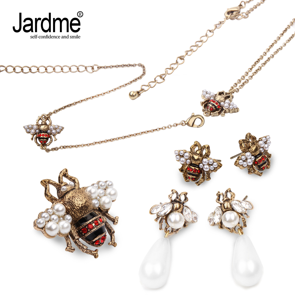 Jardme Vintage Pearl Crystal Bee Jewelry sets Stud Earrings for Women 2018 NEW Original Design Party Earring Apparel Accessories