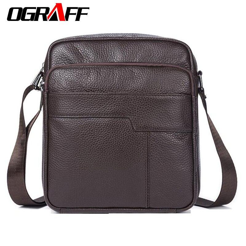 OGRAFF Men messenger bags genuine leather bag casual small business vintage luxury handbag designer shoulder crossbody