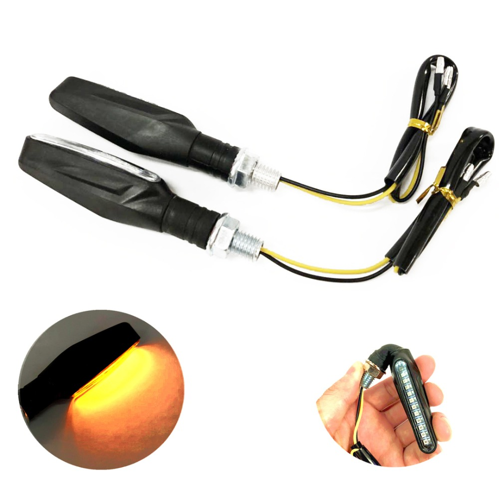 2pcs Motorcycle Turn Signal Light LED Flowing Water Amber Blinkers Flexible Bendable Indicator Flashers Lamp for Honda Yamaha