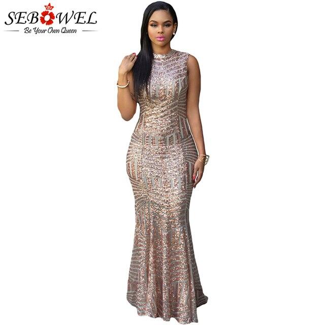 0c01827a1e6 SEBOWEL Sexy Gold Pailletten Kleid Frauen Elegante Glitter Bodycon Maxi  Party Kleid Weibliche Lange Sparkly Abendkleid