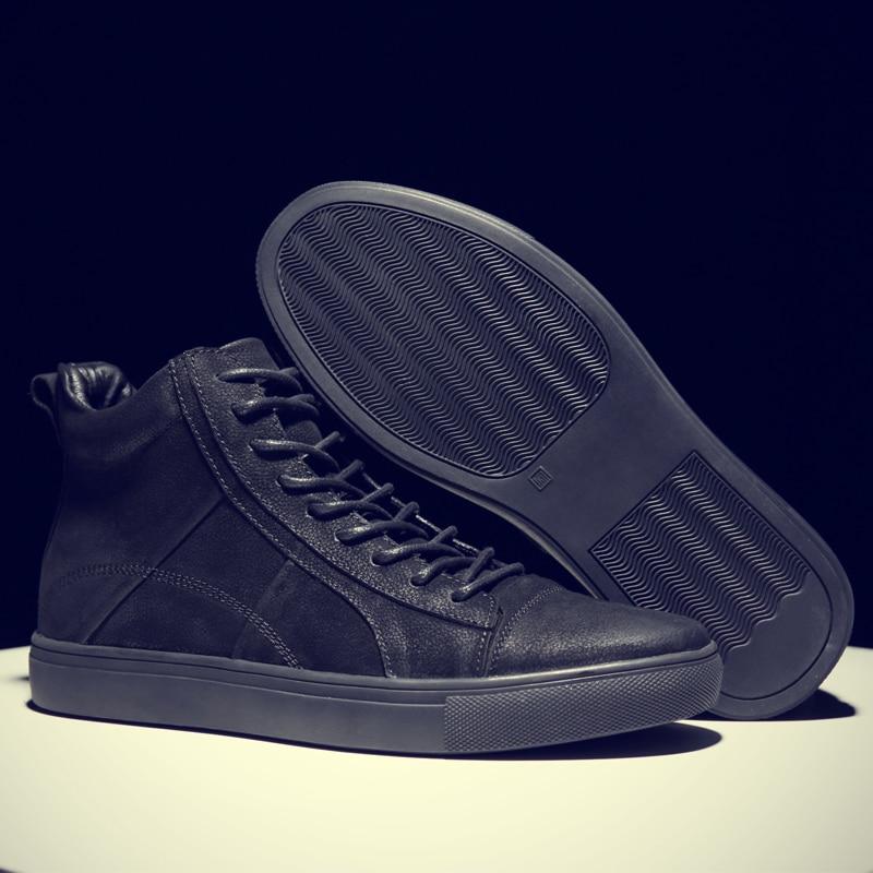 Fotwear Hommes Baskets En Cuir En Cuir chaussures décontractées haut de gamme de mode Noire avec à lacets Bon port avec jeans semelle Souple - 2