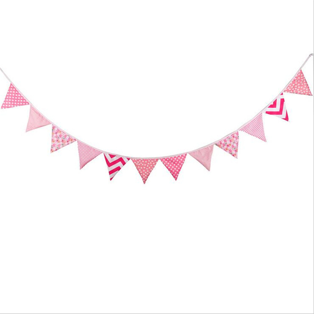 3 2m 12flags Pink Wedding Decoration Cotton Fabric Bunting