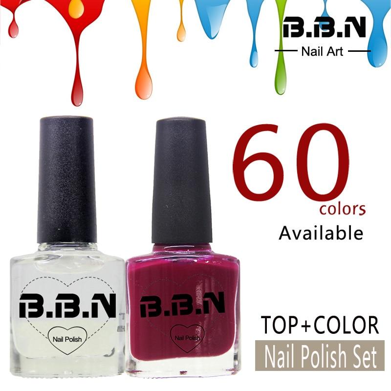 2PCS Nail Polish Set Top Coat + Color Nail Polish Water