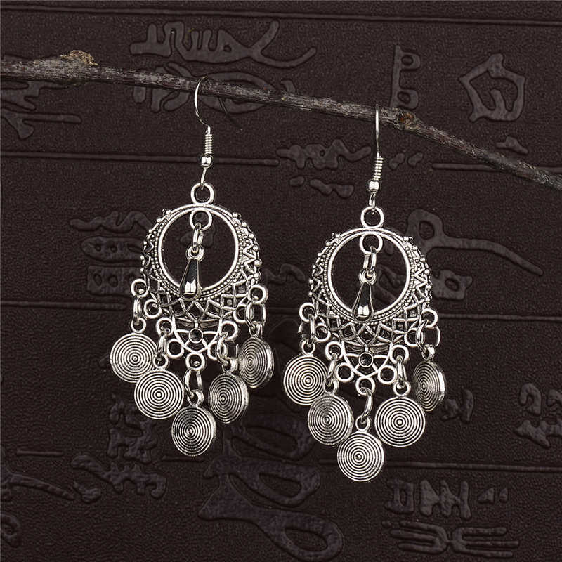 Amader 2018 Ethnic Round Alloy Tassel Hollow Drop Earrings For Women Jhumka Jhumki Vintage Ladies Dangle Earrings Oorbellen