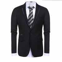 Black And Grey Men Suits Jacket One Button Wedding Groom Dress Jacket Tailor Made Fashion Formal
