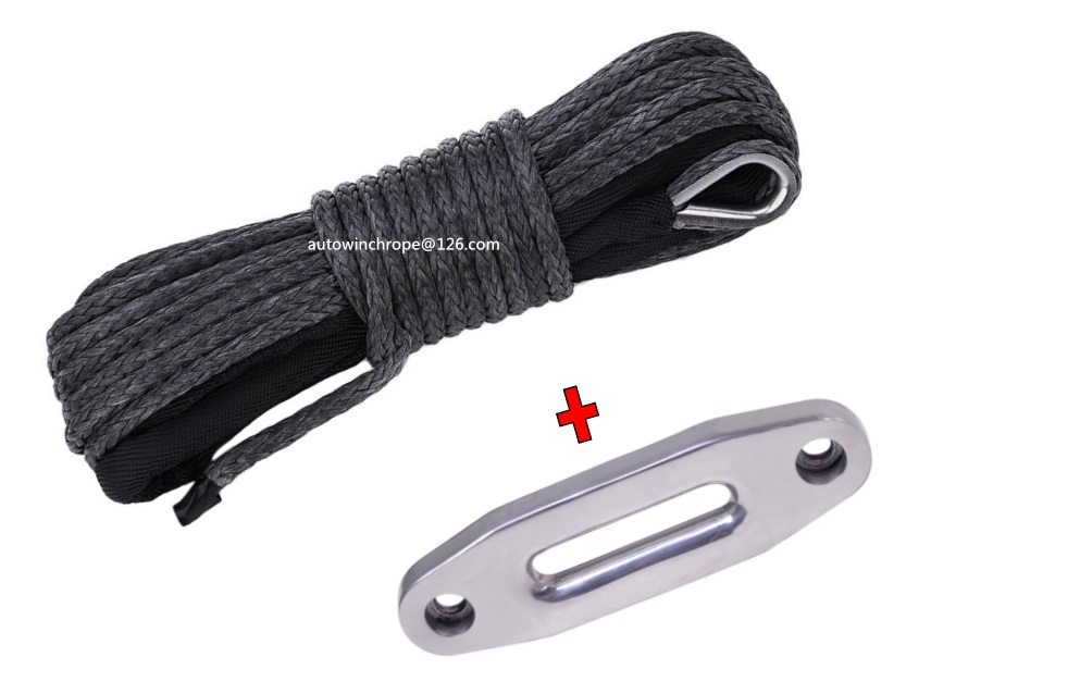 Free Shipping Black3/16*50ft ATV Winch Line&4000lbs Rope Fairlead, Rope for Winch Accessaries,Synthetic Winch Cable Rope