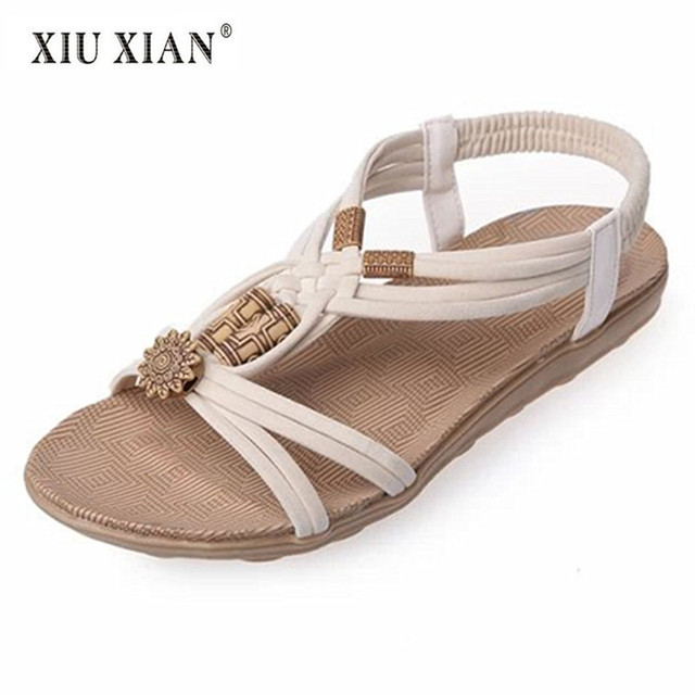 ba5e73a2f155e7 2018 New Simple Fashion Women Sandals Suede Strap Elastic Band Comfortable Flats  Shoes Wood Beads Peep
