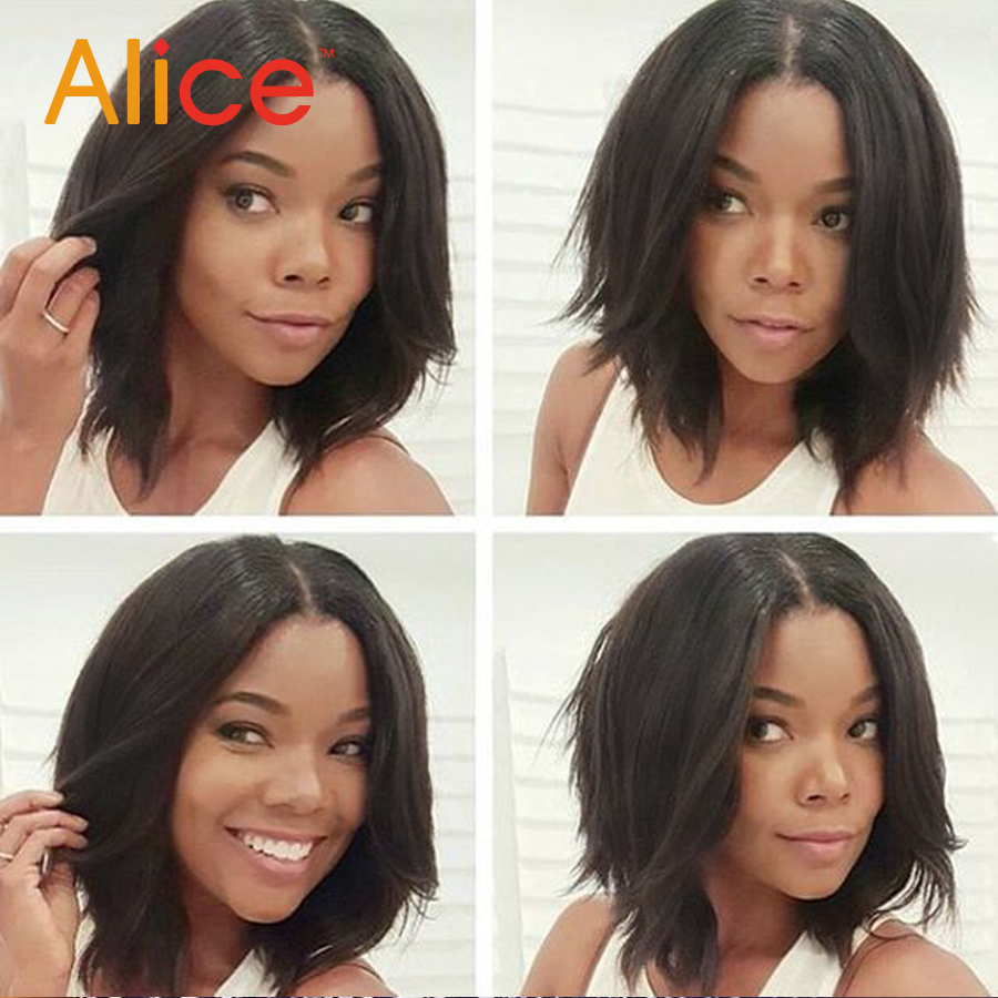 Glueless Full Lace Human Hair Bob Wigs Full Lace Front Short Layered