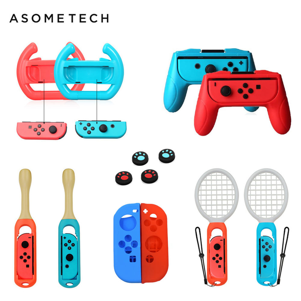 14 in 1 Accessories For Nintend Switch Controller Grip Wheels Tennis Racket Drum Stick For Taiko Soft Case For Nintendo Switch