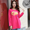 Korean version of the maternity dress autumn and winter pregnant women sweater plus velvet thick pregnant women T - shirt