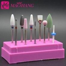 MAOHANG 10 шт./компл. керамический, твердосплавный Фрезер для ногтей, сверлильный биты наборы фрезер Электрический Маникюр Педикюр сверлильный станок аксессуар