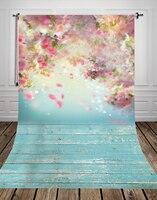 Pétala de flor de pessegueiro impresso pano de fundo da foto do bebê Arte tecido backdrops para estúdio de fotografia fundo de madeira recém-nascidos D-9923