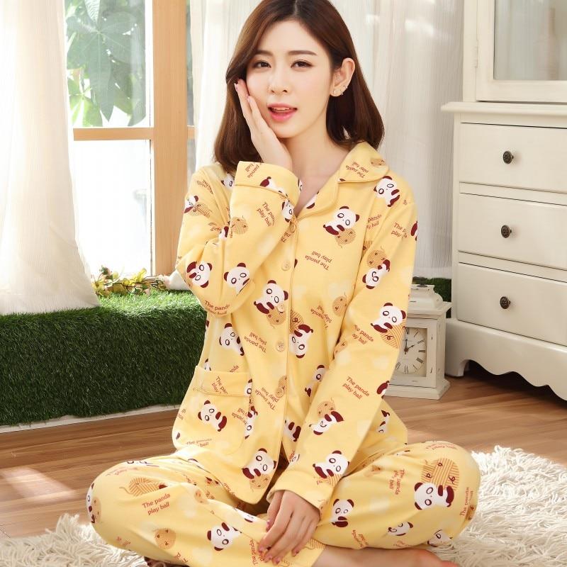 Woman Lady Cotton Pajamas Sets Panda Casual Sleepwear Long Sleeve Nightgowns M 3xl Long Pants Sleepwear Pajamas Sets Plus size