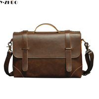 Hot Sale Carzy Horse Leather Man Handbags High Quality Business Tote Vintage Cover Men Messenger Bags