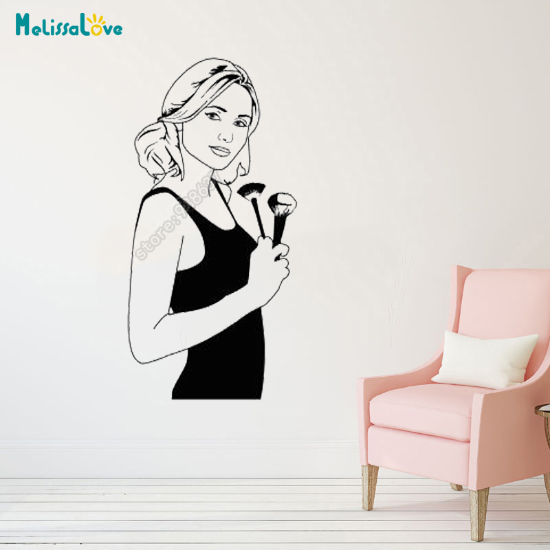Makeup Artist Decal Beauty Salon Stylist Woman Cosmetics Grooming Decoration Removable Vinyl Wall Stickers Wallpaper B620 Wall Stickers Aliexpress