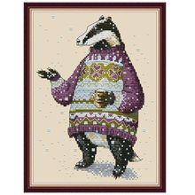 OOTDTY свитер Барсук DIY ручной работы Рукоделие Счетный 14CT Печатный Вышивка крестом комплект с вышивкой украшение дома