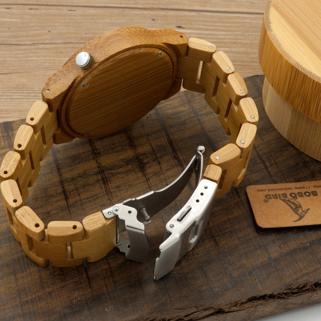 Mens Green Wood Dial Full Bamboo Wooden Watch