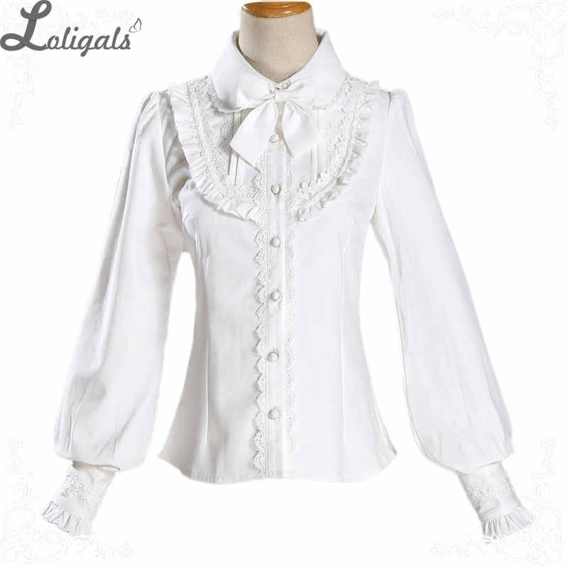 daec5a1ee34 Warm Thick Women's Shirt Long Sleeve White Black Lolita Fleeced Blouse with  Bowknot
