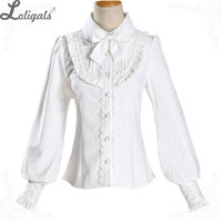 Warm Thick Women's Shirt Long Sleeve White Black Lolita Fleeced Blouse with Bowknot