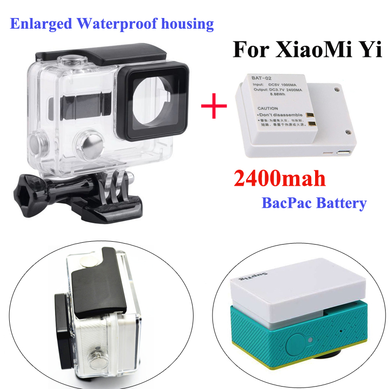 XiaoMi yi External bacpac battery + Enlarged Waterproof housing case Box for Xiaomi Yi sport camera accessories cp a216 lock buckle for xiaomi yi waterproof housing
