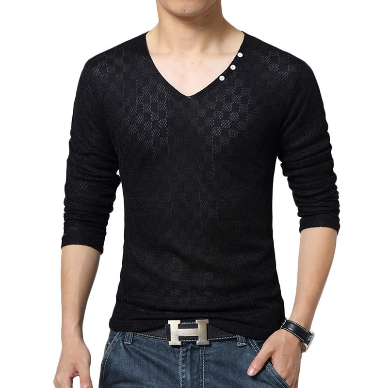 Online Shop Brand T shirt Men 2016 Fashion Sexy Design Long Sleeve ...