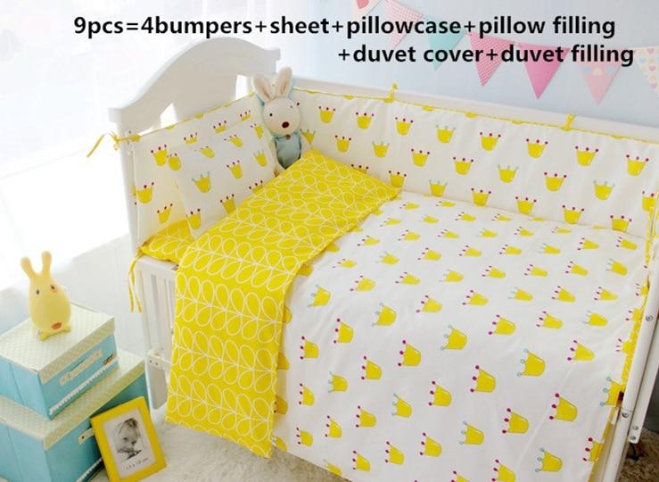 Promotion! 9PCS full set cartoon Cotton Crib Bed Linen Kit Cartoon Crib Baby Bedding Set,4bumper/sheet/pillow/duvet
