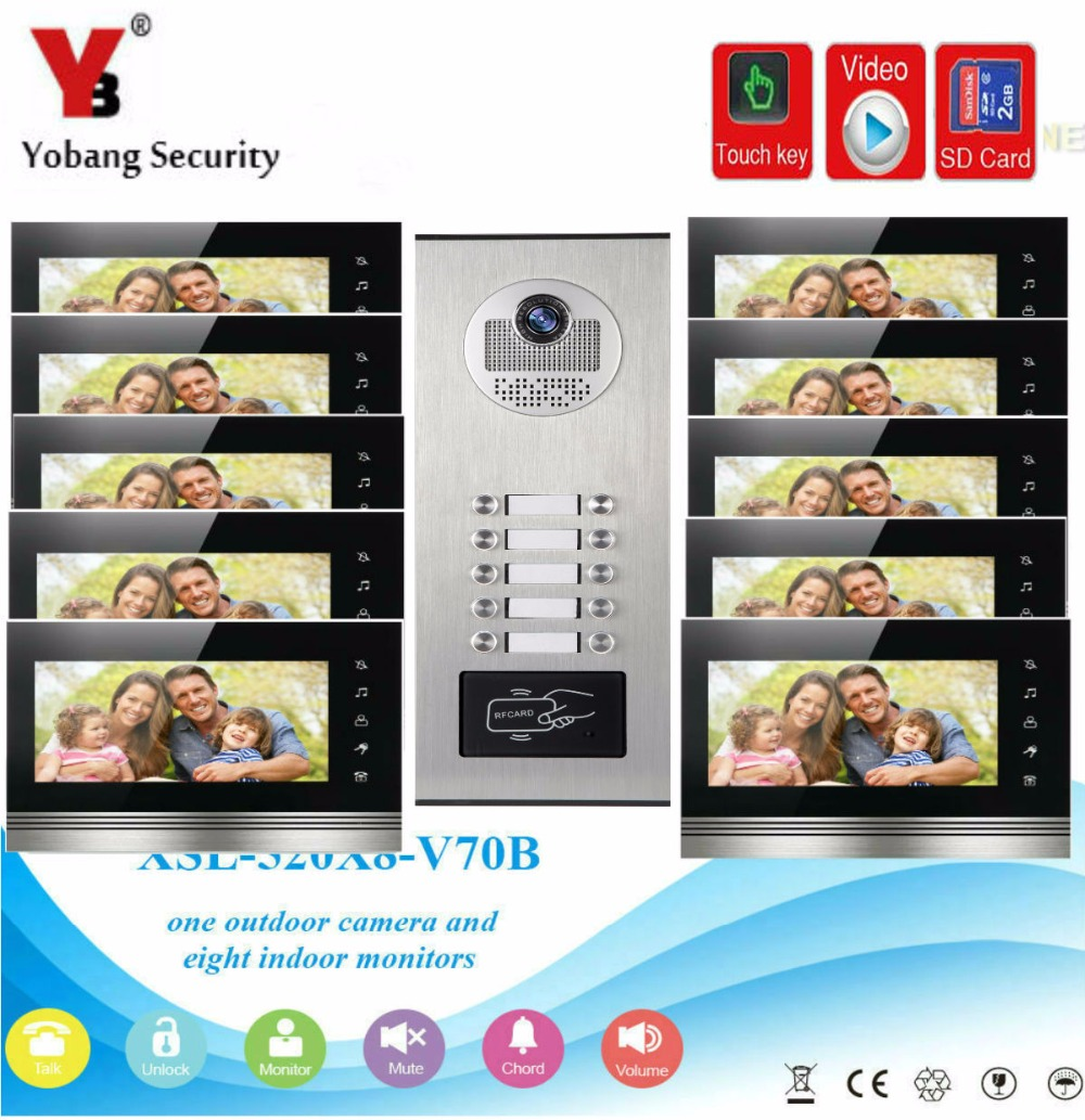 YobangSecurity 7Inch Video Door Phone Doorbell Intercom Monitor System RFID Access With Video Recording SD Card For 10 Apartment
