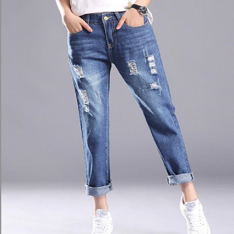 2018 ECTIC Women's casual fashion jeans with holes in them Women's jeans L568923