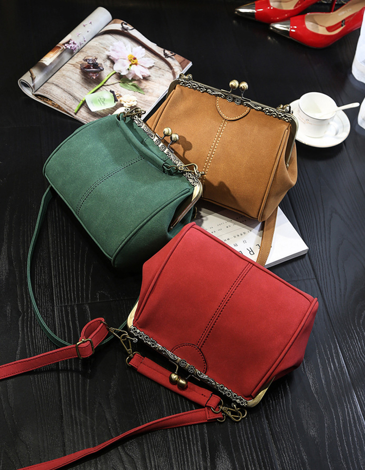 Women PU Leather Purse Retro Fashion Top Handle Handbag Kiss Lock Crossbody Shoulder Bag for Ladies (20)