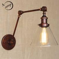 Industriellen stil antik rost eisen glas wand lampe/swing arm wand beleuchtung für arbeitsraum/Bad Eitelkeit 2 gilt arm Tornado