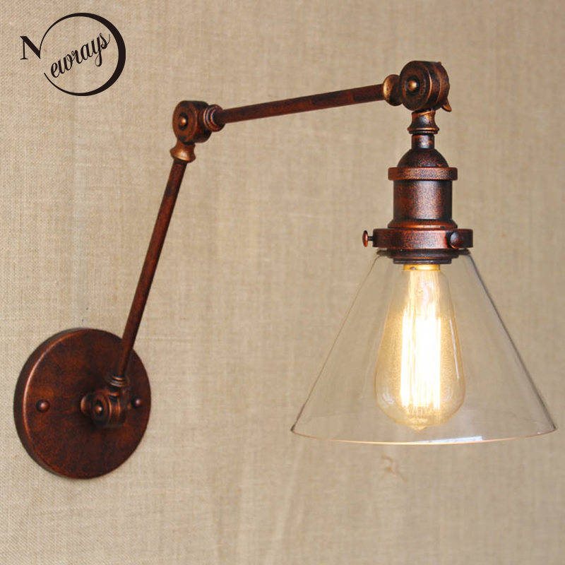 industrial style antique rust iron glass wall lamp/swing arm wall lighting for workroom/Bathroom Vanity 2 applies arm Tornadoindustrial style antique rust iron glass wall lamp/swing arm wall lighting for workroom/Bathroom Vanity 2 applies arm Tornado