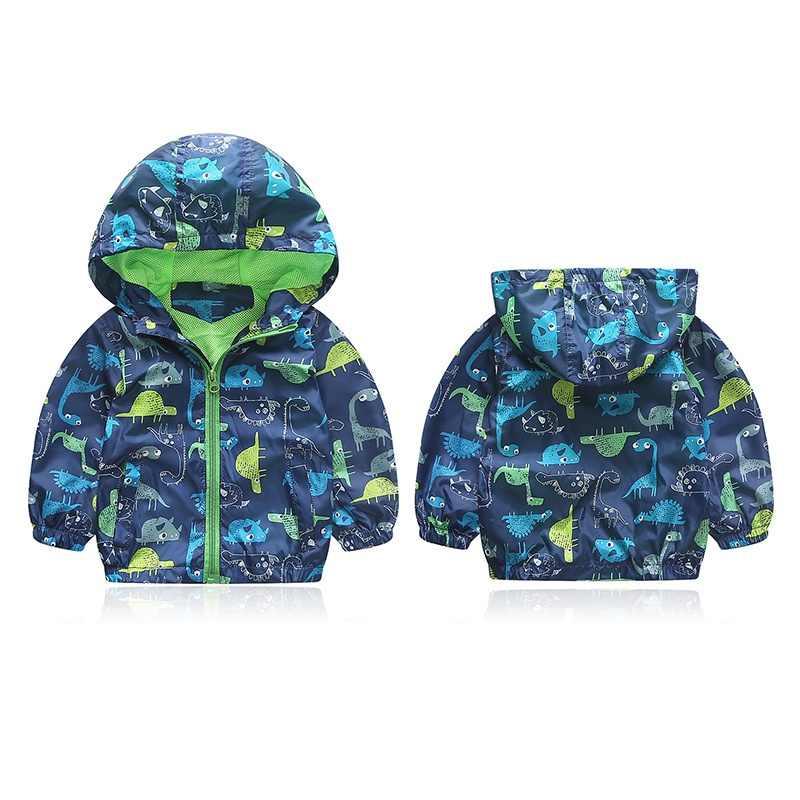 秋の子供男の子ジャケットかわいい動物ウインドブレーカー恐竜アウターコート男の子子供フード付き服90-120センチ