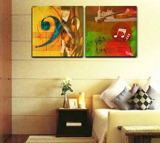 2 pcs Giclee retro canvas prints Still Life Musical Instruments ...