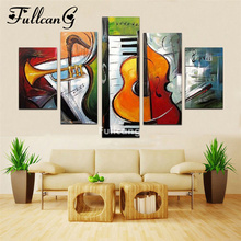 FULLCANG 5d diamond mosaic musical instruments diy painting 5 pcs full square embroidery pattern set F208