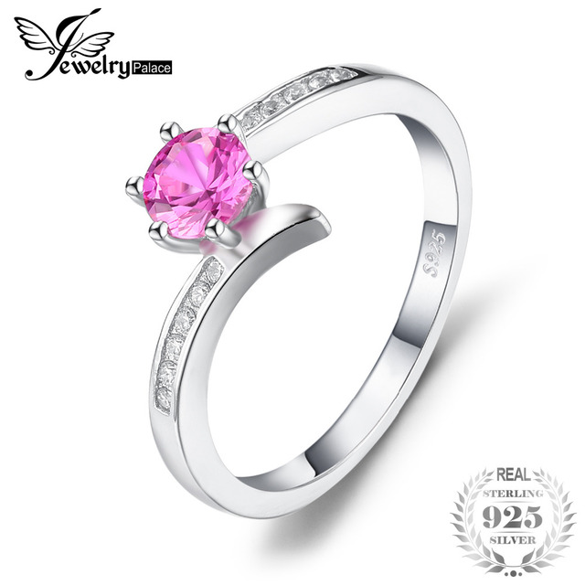 JewelryPalace Classic 0.7ct Created Pink Sapphire Ring 925 Sterling Silver New F