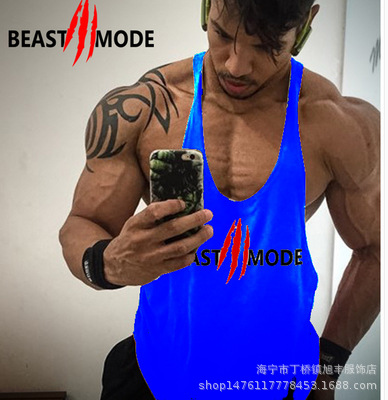 748d54e6e011e5 Large size vest bodybuilding clothing gym small round neck LIFT sports  training deep digging muscle cotton back