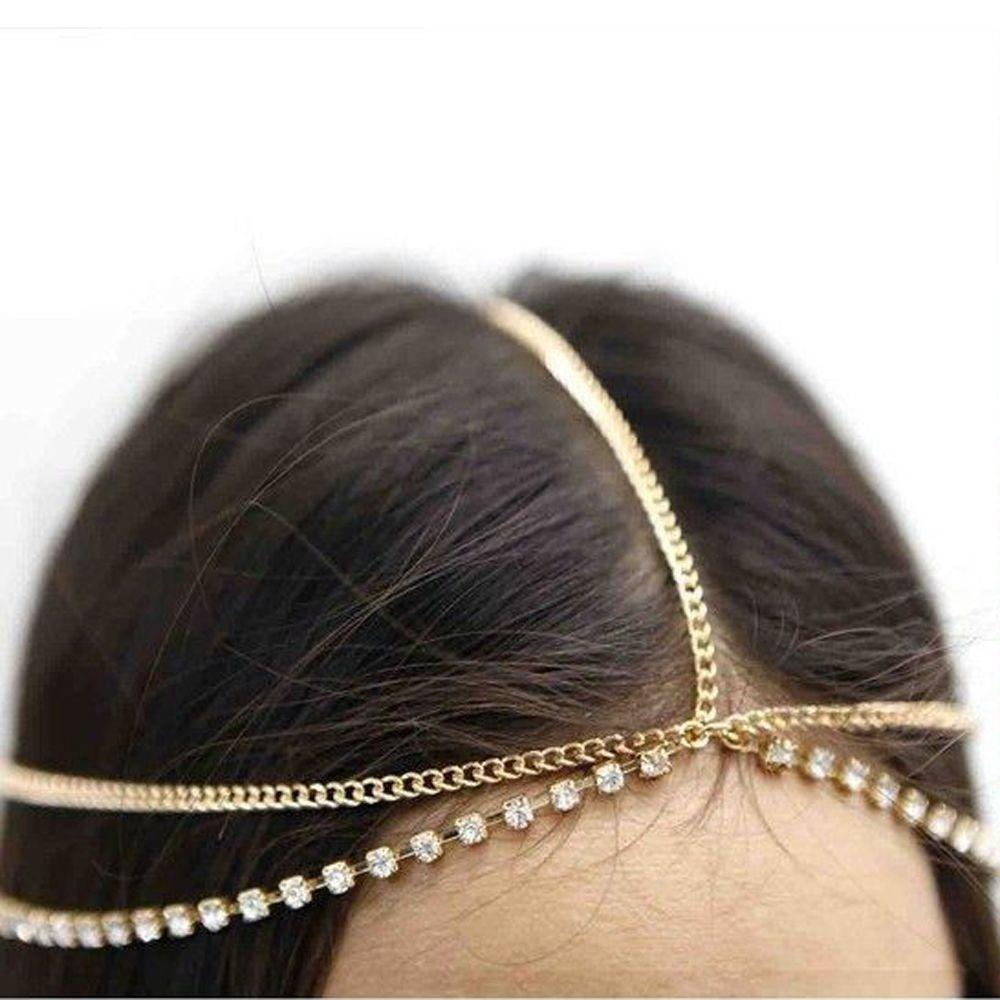 1Pc Fashion Women Lady Metal Gold Silver Multilayer Boho Head Chain Headband Headpiece Bridal Wedding Hairstyle Hair Accessories