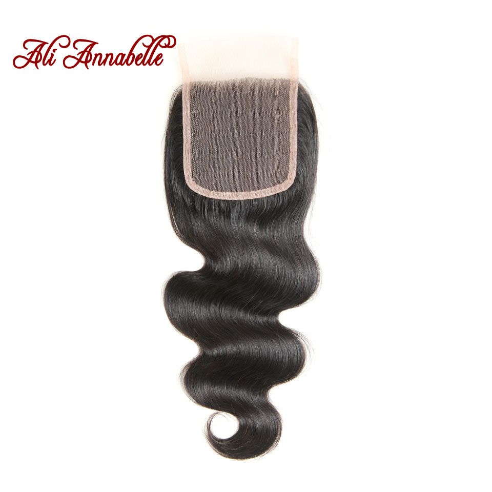 ALI ANNABELLE HAIR Peruvian Body Wave Closure 4x4 Swiss Lace Remy Human Hair Closure Free Middle