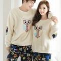 New winter long sleeve Lovers pajamas men &women sleepwear Warm flannel Cartoon Leisure Home clothes loose couple pajamas set