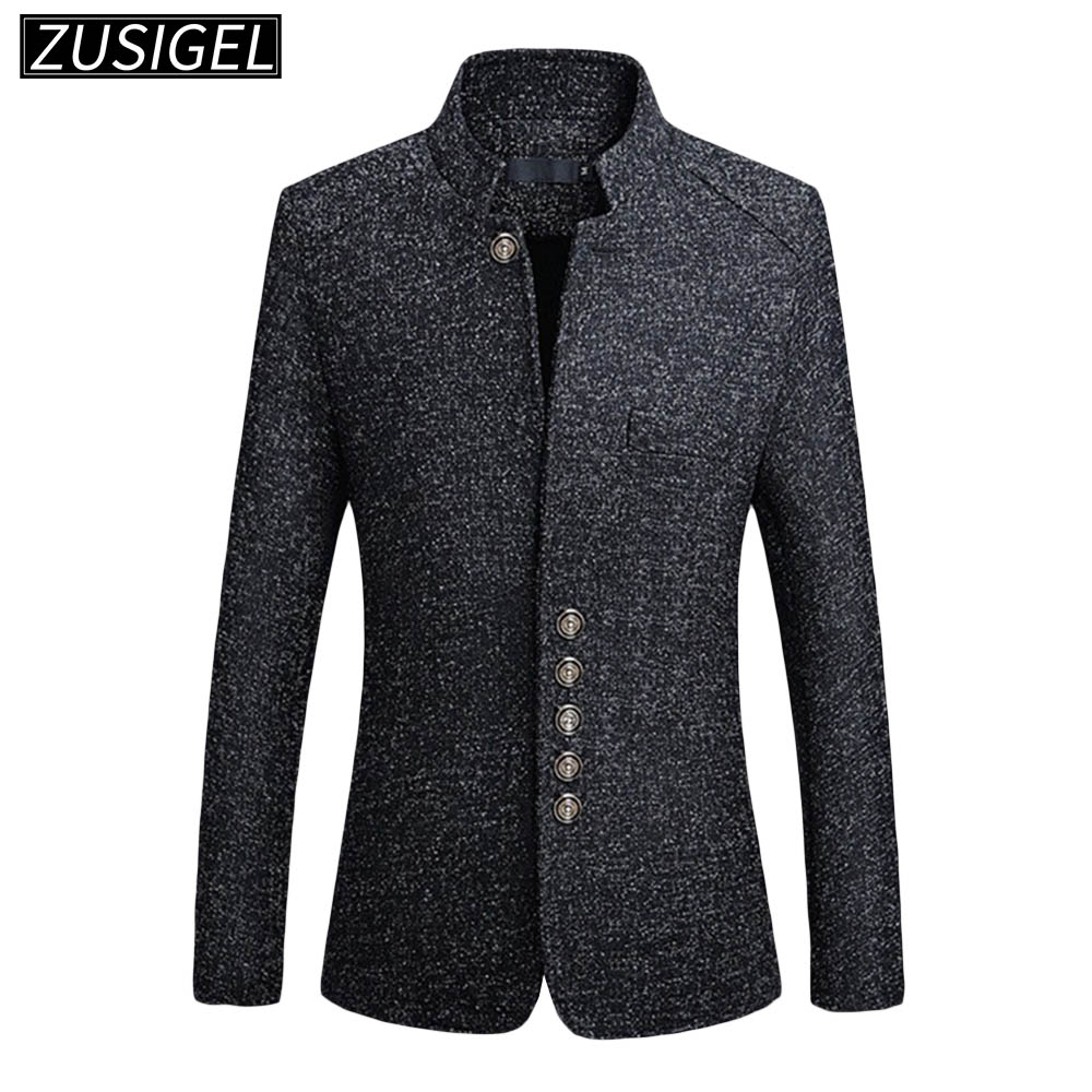 ZUSIGEL Men Suit Jacket Solid Mandarin Collar Slim Fit Tuxedo Men Blazer Jacket Autumn Winter Casual Blazer Men Coat Plus Size