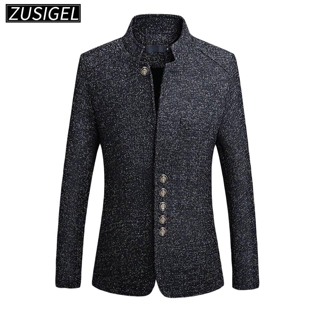 ZUSIGEL Men Suit Jacket Solid Mandarin Collar Slim Fit Tuxedo Men Blazer Jacket Autumn Winter Casual Blazer Men Coat Plus Size