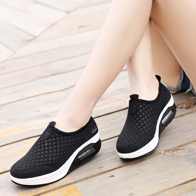 ONLYMONKEY Size 35 42 Summer Mesh Breathable Running Shoes Women Wedges Thick Sole Outdoor Sport Sneakers