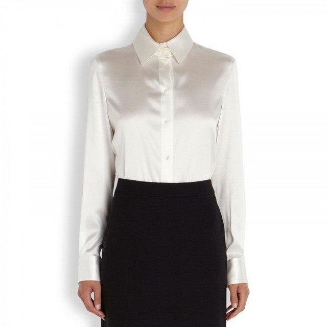 bbda399abcd Blusa de satén de seda de moda para mujer S XXXL botón blusa de seda ...